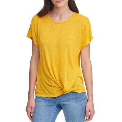 ダナ キャラン ニューヨーク レディース Tシャツ トップス Jeans Solid Round Neck Dolman Sleeve Knot Front Detail Sweater Knit Top Halo Yellow