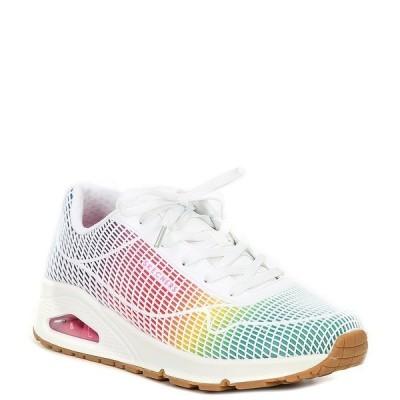 スケッチャーズ レディース サンダル シューズ Uno Eye Catching Lace-Up Wedge Sneakers White