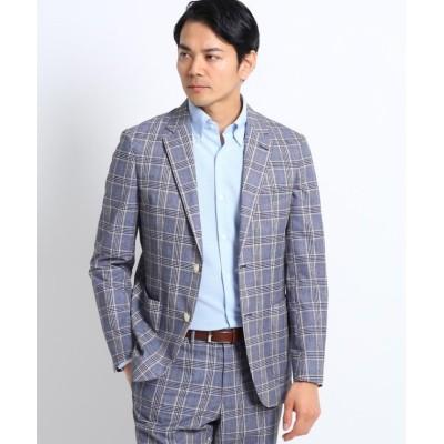 【タケオキクチ】 カラーグレンチェックジャケット/クールドッツ(R) メンズ ホワイト 02(M) TAKEO KIKUCHI