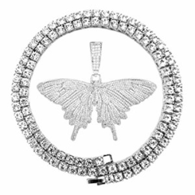 Bling Silver Gold Plated Diamond Tennis Iced Out Hip Hop Butterfly Pendant Necklaces for Men Women (Bling Butterfly-Silver, with