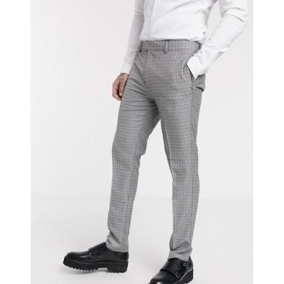 トップマン メンズ カジュアルパンツ ボトムス Topman skinny smart pants in blue & gray check