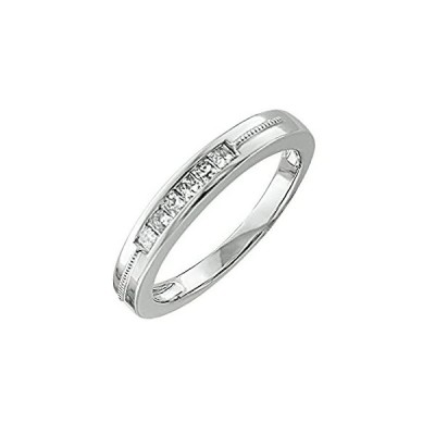 IGI認定10Kホワイトゴールド6石プリンセスカット結婚/記念ダイヤモンドバンドリング(0.25カラット)
