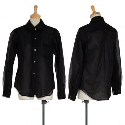 コムデギャルソンCOMME des GARCONS シースルー異素材レイヤー長袖シャツ 黒XS 【レディース】