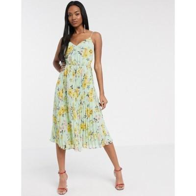 エイソス レディース ワンピース トップス ASOS DESIGN pleated cami midi dress with drawstring waist in floral print