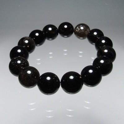 山梨県黒平産黒水晶15mm玉ブレスレット(内寸約15.5cm〜)BYS115