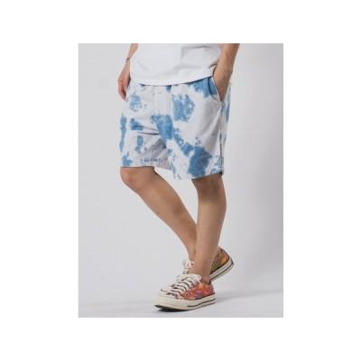 ショートパンツ パンツ セットアップ   ムラ染め ロゴ刺繍 ショート/ユニセックス 可能