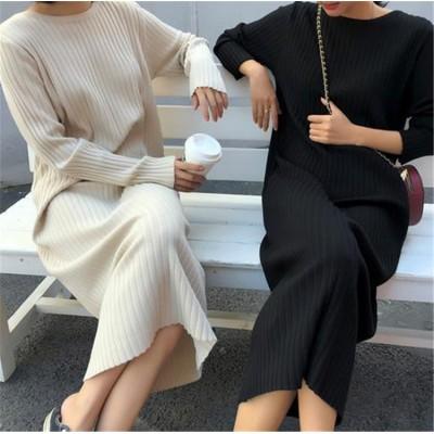 クーポン適用でお得に💓 韓国ファッション CHIC気質 大人気 おしゃれな トレンド 新品 怠惰な風 ゆったりする ラウンドネック セーター ロングセクション ニットワンピース