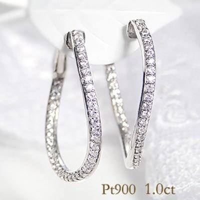 pt900 「Gカラー SIクラス」「1.0ctUP」 ダイヤモンド フープ ウエーブ ピアス ジュエリー イヤリング プラチナ 4月誕生石