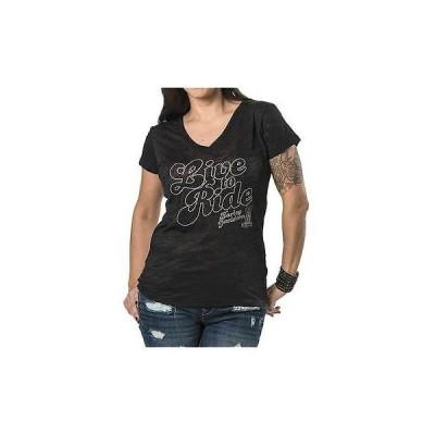 レディース ウェア Tシャツ ハーレーダビッドソン Harley-Davidson Womens Moxie Embellished Short Sleeve Burnout Tee, Black