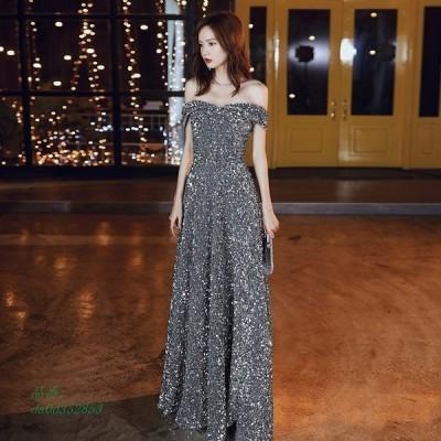 パーティードレス ワンピース ウェディングドレス 結婚式 成人式 パーティー 花嫁ロングドレスお呼ばれ スパンオフショルダー 演奏会 挙式