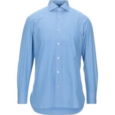 エルメネジルド ゼニア ERMENEGILDO ZEGNA メンズ シャツ トップス solid color shirt Azure