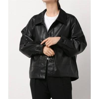 ジャケット ブルゾン ショートシャツジャケット / 合皮 / エコレザー