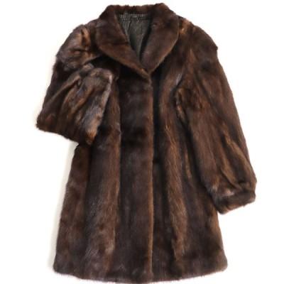 極美品▼MINK ミンク 裏地総柄 本毛皮コート ダークブラウン 毛質艶やか・柔らか◎
