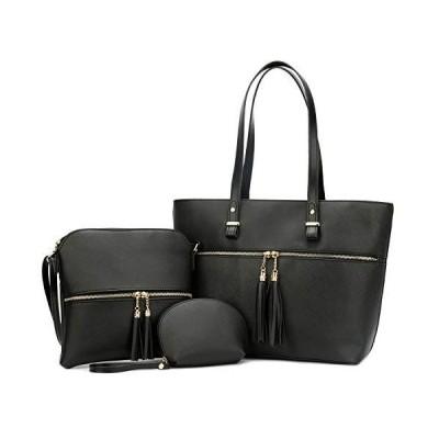 KKXIU Purses and Handbags For Women Tote Shoulder Crossbody Hobo Satchel Bag 3pcs Sets (Black)【並行輸入品】