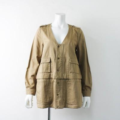 nest Robe ネストローブ コットン ノーカラー Vネックジャケット /ベージュ アウター 羽織り 2400011965066