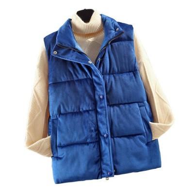 ベルベット 中綿ベスト ダウンコットン 秋冬春 レディース 女性用 綿入り 立ち襟 防風 防寒 保温 アウター 無袖 重ね着