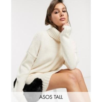 エイソス レディース ワンピース トップス ASOS DESIGN Tall chunky mini dress with roll neck with open back Cream
