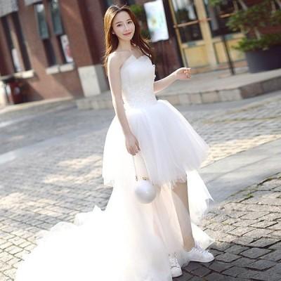 ミニ丈ドレス 二次会 ウェディグドレス 花嫁 パーティドレス 結婚式 白 ワンピース 演奏会 大きいサイズ ドレス 発表会 安い かわいい トレーン 前撮り