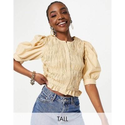 ピーシーズ Pieces Tall レディース ブラウス・シャツ トップス plisse blouse in camel