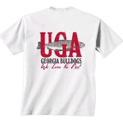 ユニセックス スポーツリーグ アメリカ大学スポーツ New World Graphics NCAA Georgia Bulldogs We Lure Short Sleeve Shirt-White-xl