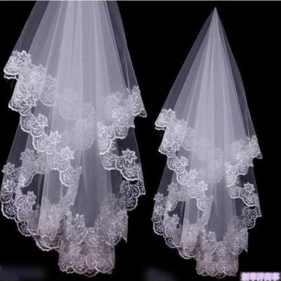 ウエディングベール ベール   ロングベール  ダウンベールレース刺繍1.4mブライダル結婚式ベール花嫁披露宴ウェディング小物 二次会