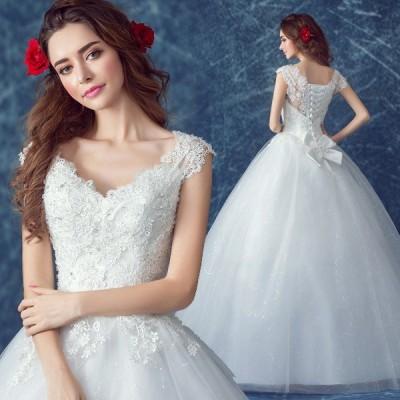 ウエディングドレス 二次会 白 花嫁 ウェディングドレス 安い プリンセスライン エンパイア 結婚式 vネック 披露宴 ロングドレス ブライダル シンプルドレス