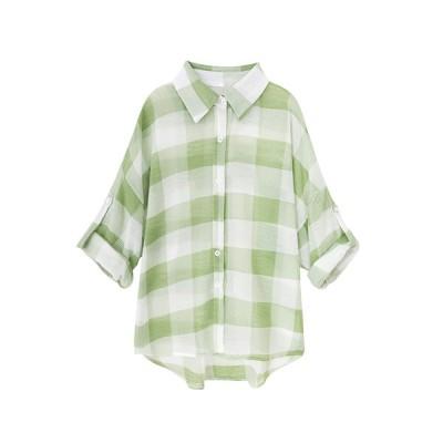 ブラウス レディース 長袖シャツ フリーサイズ 夏用 着痩せ 軽い 快適 通勤 お出かけ ゆったり きれいめ