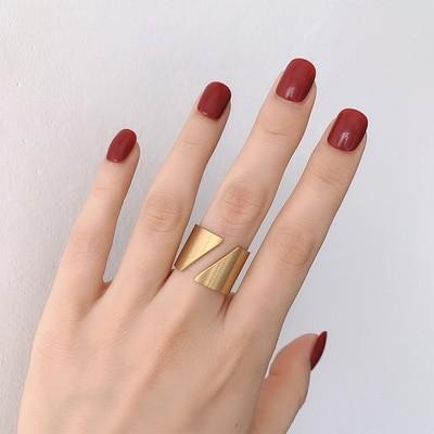 欧米INS風金属ステンレス製金色フリーサイズ人差し指指輪T-R85