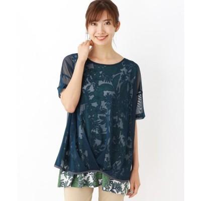 tシャツ Tシャツ 【M-L】シアーレイヤード花プリントプルオーバー