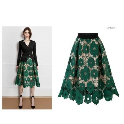 新型上品 ナチュラル レーススカート 花柄 流行 刺繍レース ふんわり Aラインフレア ロングスカート