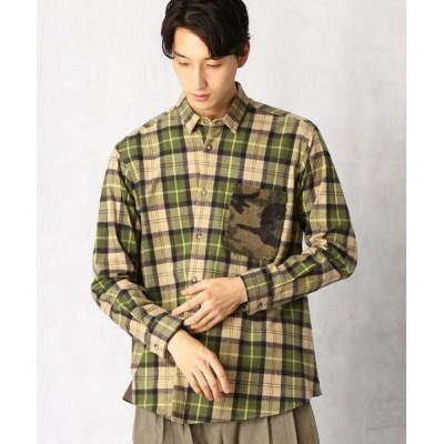COMME CA MEN/コムサ・メン アシンメトリーシャギーチェックシャツ ベージュ M