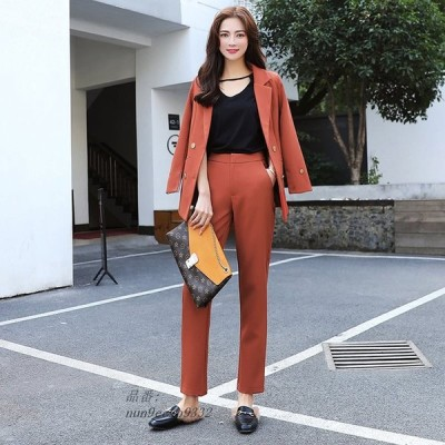 CBAFU 韓国スタイルオフィスレディ仕事 OL 2 個セットダブルブレストブレザー長ズボンスーツ カジュアル ビジネス女性 セット D665 グループ上 レディース衣