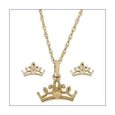 "Disney Princess Jewelry for Women, 14K Yellow Gold Tiara Pendant Necklace and Stud Earrings Set, 18"" Chain[並行輸入品]"