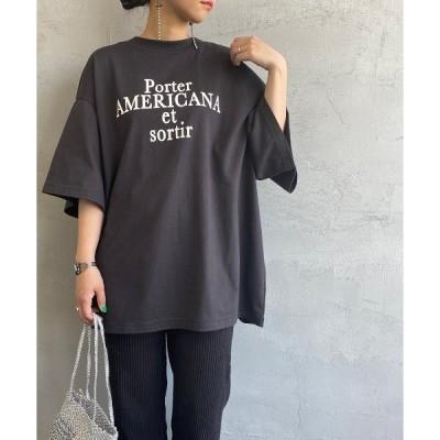 tシャツ Tシャツ [Americana×JEANS FACTORY/アメリカーナ×ジーンズファクトリー] 別注ロゴプリント バックスリットビッグTシ