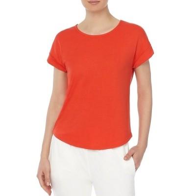 ジョーンズニューヨーク レディース Tシャツ トップス Roll Cuff Short Sleeve Jewel Neck Knit T-shirt Pimento
