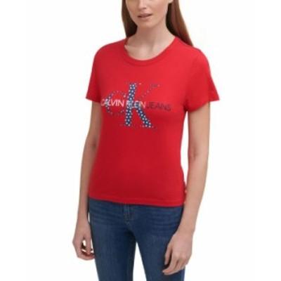 カルバンクライン レディース シャツ トップス Americana Logo T-Shirt Salsa