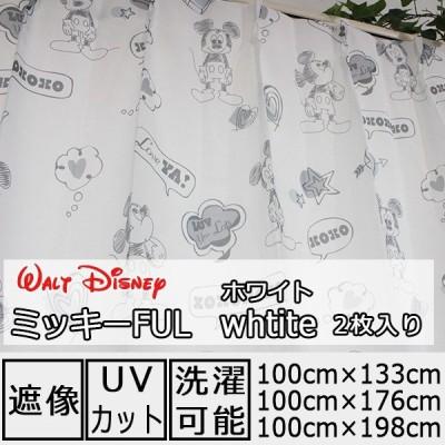 レースカーテン ディズニー ミッキー ミラーレース 遮像 UVカット 既製品 3サイズ同一価格 ミッキーFUL ホワイト