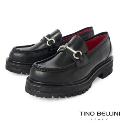 Tino Bellini 義大利進口金屬環扣厚底樂福鞋-黑