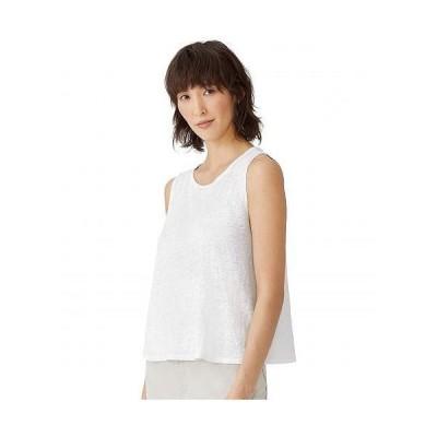 Eileen Fisher アイリーンフィッシャー レディース 女性用 ファッション トップス シャツ Organic Linen Round Neck Shell - White