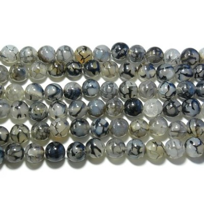 天然石12mm half-a1213 黒龍紋瑪瑙(ドラゴンアゲート)半連 約18-20cm