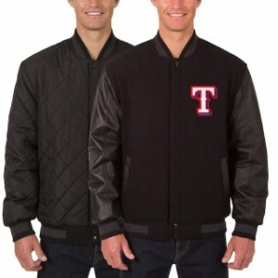 JH Design ジェイエイチ デザイン アウターウェア ジャケット/アウター JH Design Texas Rangers Charcoal/Black Wool Leather Reversibl
