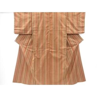 宗sou 縞に幾何学模様織り出し手織り紬着物【リサイクル】【着】