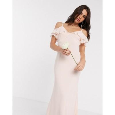 ウェアハウス マキシドレス レディース Warehouse bridesmaids cold shoulder frill maxi dress with button back in blush pink エイソス ASOS
