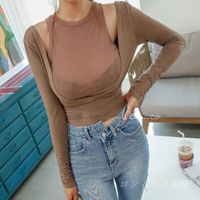 フェイクレイヤード 長袖 Tシャツ レディース インナートップス シースルー 透け感 タイトフィット セクシー 無地 薄手 カシュクール 女性 シンプル