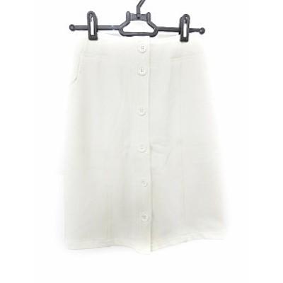 【中古】アナザーエディション アローズ スカート ひざ丈 タイト ボタンフライ 白 ホワイト /AAO36 レディース