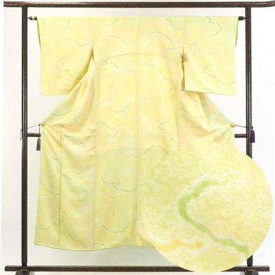 リサイクル着物 小紋 正絹薄グリーン地雲取り柄袷小紋着物