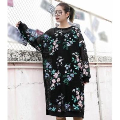 刺繍 メッシュ ひざ丈 ブラック ワンピース ドレス パーティ リゾート 二次会 きれいめ 20代 30代40代 大きい キャバワンピ