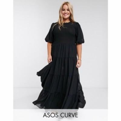 エイソス ASOS Curve レディース ワンピース ティアードドレス ワンピース・ドレス ASOS DESIGN Curve shirred tiered maxi dress in pla