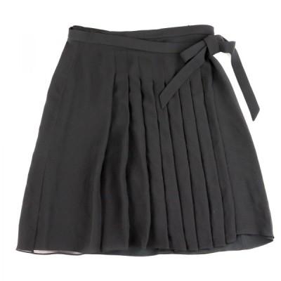 フェラガモ Salvatore Ferragamo シルクプリーツスカート 巻きスカート レディース 38 黒 美品【B3-11271】