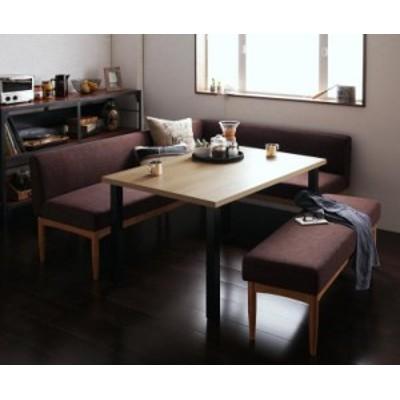 リビングダイニング 〔BARIST〕 4点ベンチセット(テーブルW120+バックレストソファ+右アームソファ+ベンチ) サンドベージュ
